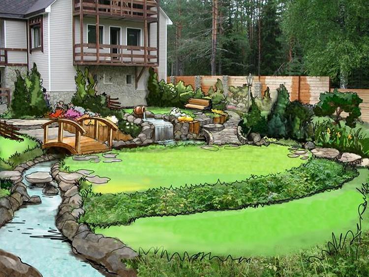 Ландшафт загородного дома своими руками фото